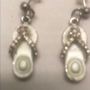 Post Sandal Charm Crystal Earrings
